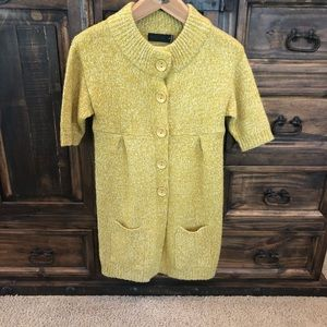 Long chartreuse and white cardigan